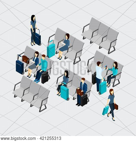 People Waiting For Departure At The Airport With Luggage Isometric Vector Illustration