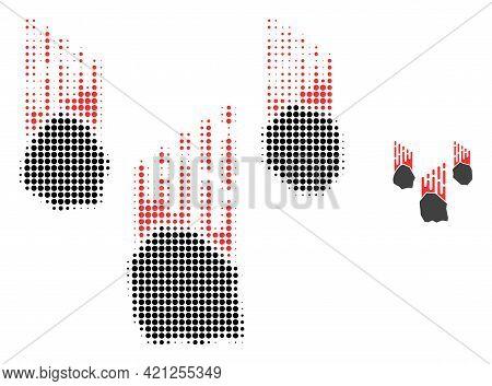 Falling Rocks Halftone Dot Icon Illustration. Halftone Pattern Contains Round Points. Vector Illustr