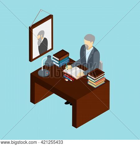 Professional Historian At Work In His Office Concept Isometric Banner With Scientific Research Attri