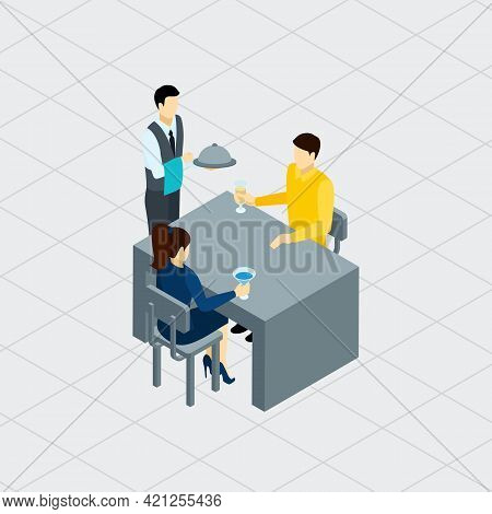 Waiter Attending Customers At The Table Serving Food And Drinks Profession Concept Isometric Banner