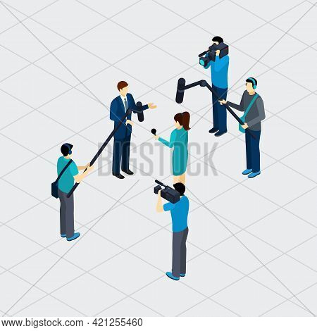 Journalist Profession Work Situation Making Live Tv Reportage Outdoor In Urban Area Isometric Banner