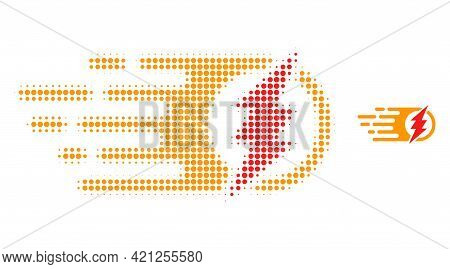 Electric Spark Halftone Dotted Icon Illustration. Halftone Pattern Contains Circle Dots. Vector Illu