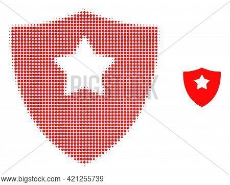 Guard Shield Halftone Dot Icon Illustration. Halftone Array Contains Round Pixels. Vector Illustrati