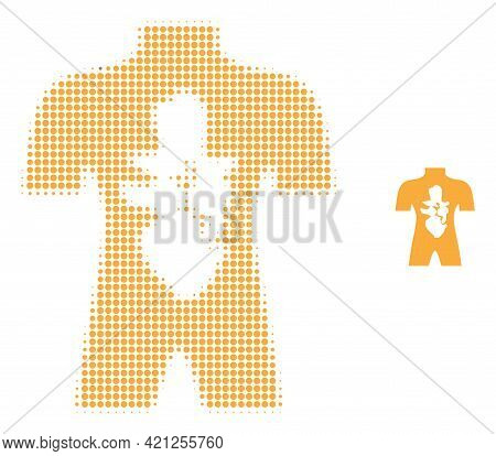 Human Anatomy Halftone Dotted Icon Illustration. Halftone Array Contains Circle Points. Vector Illus