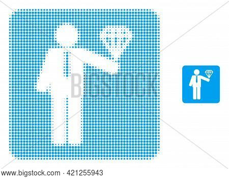 Groom Diamond Halftone Dot Icon Illustration. Halftone Array Contains Circle Elements. Vector Illust