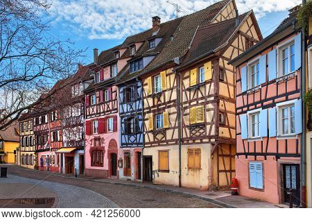 Colourful Half-timbered Houses In Colmar, Alsace, France
