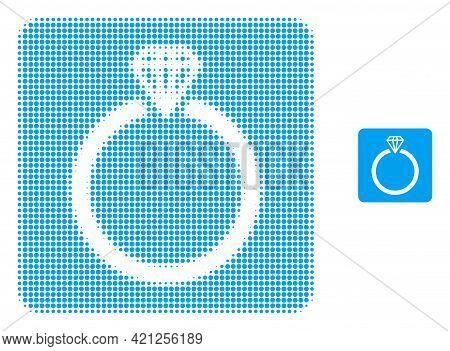 Diamond Ring Halftone Dot Icon Illustration. Halftone Pattern Contains Circle Elements. Vector Illus