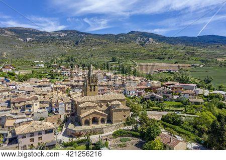 Church Of San Esteban In Loarre Aragon Huesca Spain, In The Background The Castle
