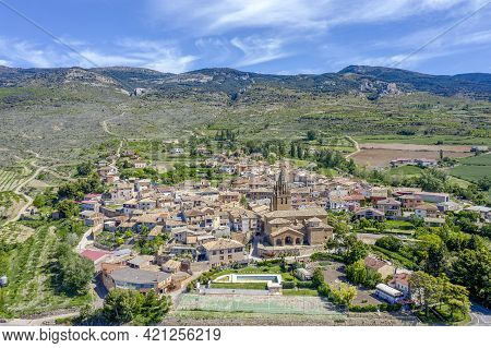 Panoramic Views Of The Town Of Loarre Aragon Huesca Spain, Foreground The Church Of San Esteban, Old
