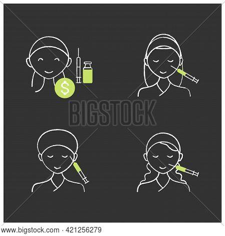 Cosmetic Injection Chalk Icons Set.beauty Correction. Eyes, Eyebrows Injection. Rejuvenation. Perfec