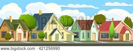 Street With Houses In A Small Rural Town. Cartoon Cheerful Flat Style. Road. Village. Small Cozy Sub