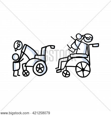 Drawn Stick Figure Of Senior Man Hugging Grandchild In Wheelchair. Elderly Embrace Together Support
