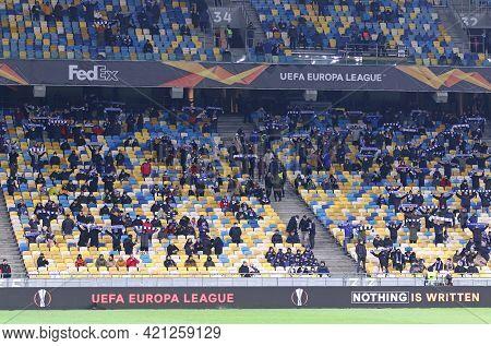 Kyiv, Ukraine - March 11, 2021: Tribunes Of Nsk Olimpiyskiy Stadium In Kyiv One Third Full Due To Co