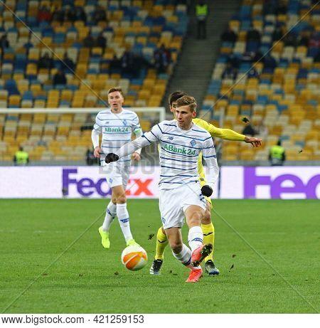 Kyiv, Ukraine - March 11, 2021: Illia Zabarnyi Of Dynamo Kyiv Controls A Ball During The Uefa Europa