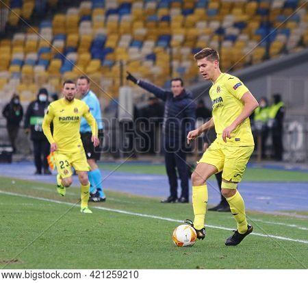 Kyiv, Ukraine - March 11, 2021: Juan Foyth Of Villarreal In Action During The Uefa Europa League Gam