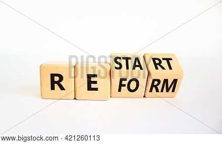 Restart And Reform Symbol. Turned Cubes And Changed The Word 'restart' To 'reform'. Beautiful White