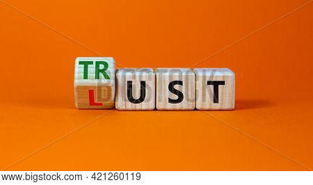 Lust Or Trust Symbol. Turned Wooden Cubes And Changed The Words 'lust' To 'trust'. Beautiful Orange