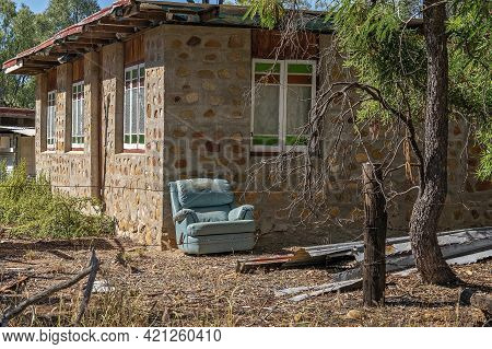 A Lounge Chair Outside Basic Accommodation In The Bush On The Gem Prospecting Leases In Outback Aust