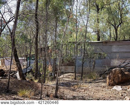Shanty Accommodation In The Bush On The Gem Prospecting Leases In Outback Australia