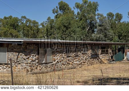 A Stone House Built By Leasehold Owner On The Sapphire Gemfields Of Outback Australia
