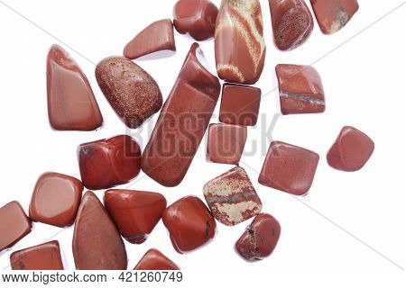 Red Jasper Heap Up Jewel Stones Texture On White Light Isolated Background