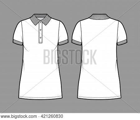Dress Polo Fashion Illustration With Short Sleeves, Oversized Body, Mini Length Pencil Skirt, Henley