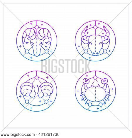 Zodiac Gradient Icons Set.fourth Fire Signs In Zodiac. Birth Symbols.cancer, Gemini, Aries, Taurus.m