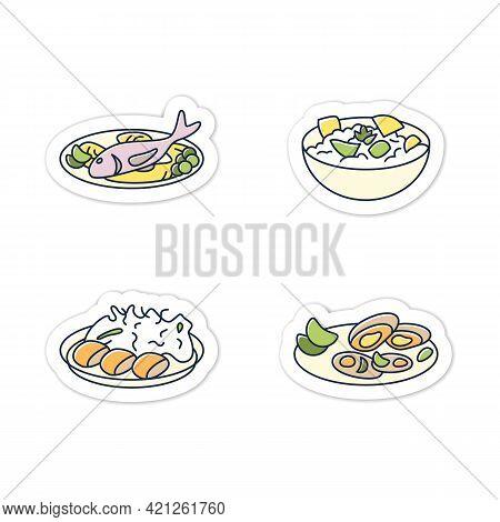 Japanese Food Sticker. Spring Delicates. Asari Clams, Spring Cabbage, Takenoko, Tai Badge For Design