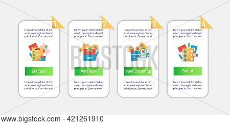 Election Vector Infographics. Vote Counting, Vote Box, Ballot Template Design Elements.presentation