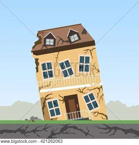 Earthquake , Natural Disasters , The Remains Of A Building After The Earthquake,  Vector Illustratio