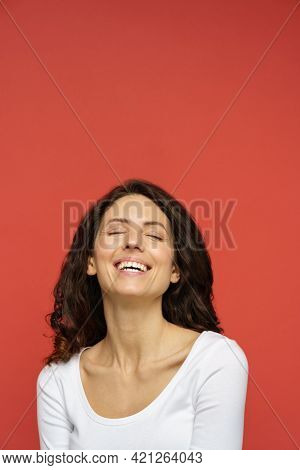 Natural Beauty: Portrait Of Attractive Female In 30s With Closed Eyes, Clean Perfect Skin, White Too