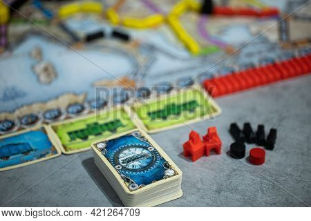 London, Gb 11.02.2021 - Close-up View Of Popular Family Railway-themed Board Game - Ticket To Ride E