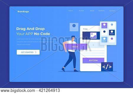 Flat Design Of Drag And Drop App Builder Concept. Illustration For Websites, Landing Pages, Mobile A