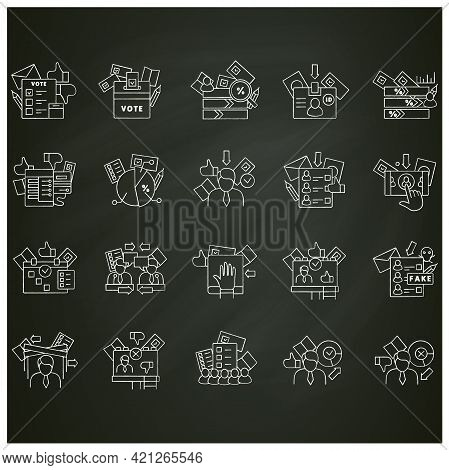 Election Chalk Icons Set.election Machine, Vote Counting, Voting Poll.choice, Vote Concept.democracy