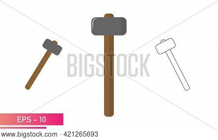 A Set Of Sledgehammers, With Rounded And Smooth Shapes And A Wooden Handle. Realistic And Linear Des