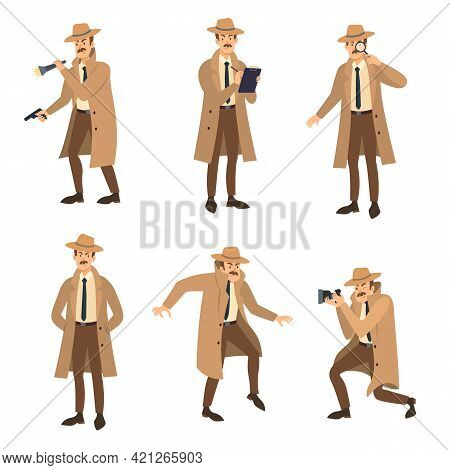 Private Detective With Mustache Vector Illustrations Set. Cartoon Character In Coat And Hat, Investi