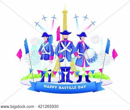 Bastille Day Celebration With People Wearing French Army Outfits. Happy Bastille Day Of France On 14