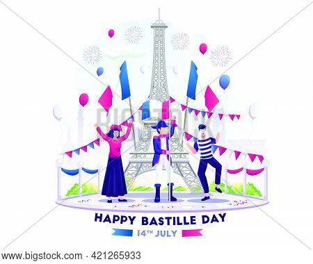 Happy People Celebrate Bastille Day On 14th July. National Day Of France. Vector Illustration
