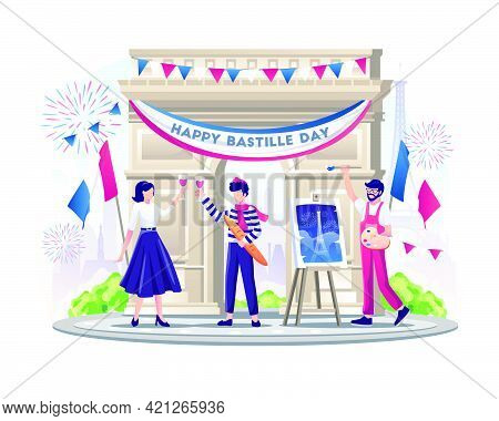 Happy French Couple And Painter Celebrate Bastille Day On 14th July. Vector Illustration