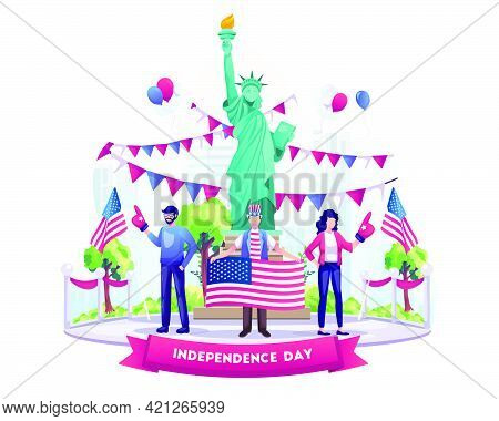 People Celebrate Us Independence Day With Flags And Balloons. Happy 4th Of July Us Independence Day.