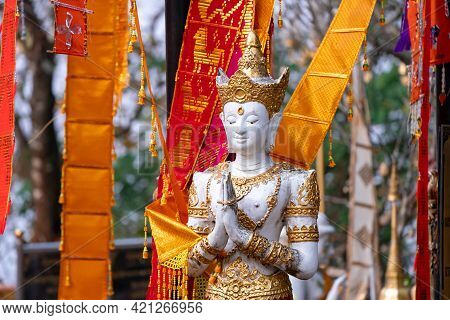 Asia Angel Statue In Front Of Tung Tree, Traditional Believe Of The Victory And Brightness In That A