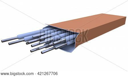 Welding Electrodes Pack. Isolated Digital Industrial 3d Rendering