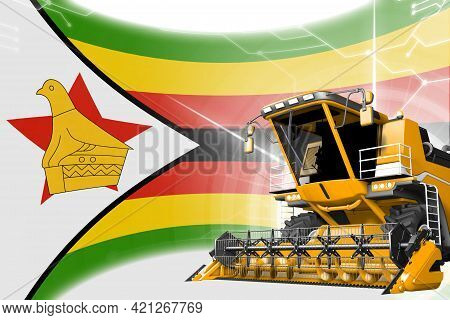 Agriculture Innovation Concept, Yellow Advanced Grain Combine Harvester On Zimbabwe Flag - Digital I