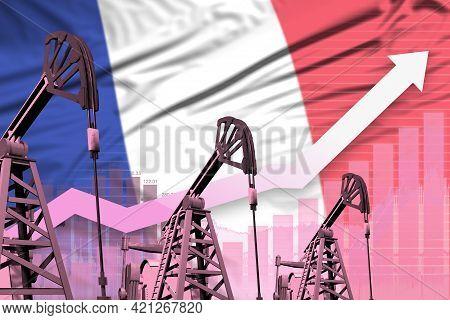 France Oil Industry Concept, Industrial Illustration - Rising Up Chart On France Flag Background. 3d