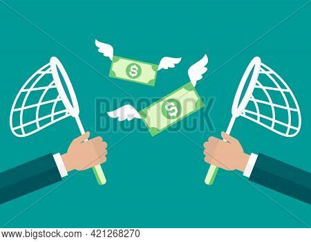 Businessman Hands With Butterfly Net Chase Dollar Banknotes. Competition, Marketing Concept. Catch,