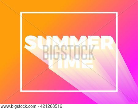 Summer Time Text In Frame On Gradient Background. Yellow And Pink Gradient Color. 80s Retro Sci-fi 3