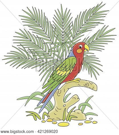 Amusing Colorful Long-tailed Parrot Perched On A Tree Branch Among Green Palm Leaves In A Tropical J