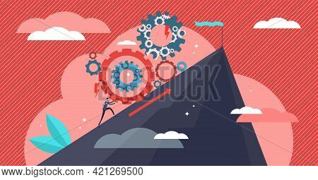 Effort Vector Illustration. Flat Tiny Challenge Conquering Process Person Concept. Professional Care