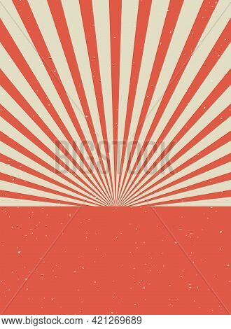 Sunlight Retro Vertical Grunge Background. Red And Beige Color Burst Background. Vector Vertical Ill