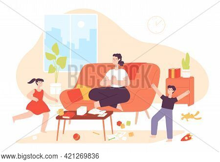 Calm Mother. Mom Do Meditation Yoga Exercise And Noisy Naughty Children Jump. Chaos In Home And Pare